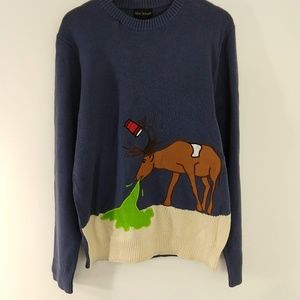 Ugly Christmas Sweater Puking Deer Red Cup large